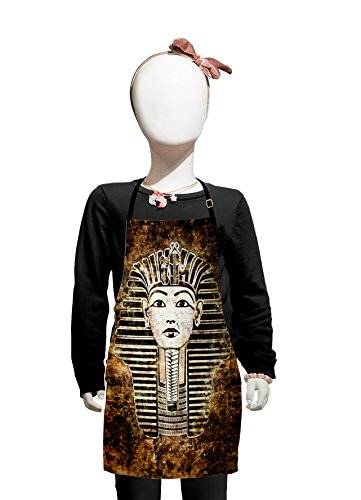 Lunarable Egypt Kids Apron, Ancient Primitive Pharaoh King Mummy Head Image with Abstract Image, Boys Girls Apron Bib with Adjustable Ties for Cooking Baking and Painting, Dark Brown White and Black