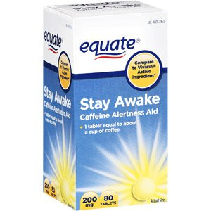 Equate Stay Awake Caffeine Alertness Aid, 80 Tablets, 200 mg Caffeine Alertness Aid Tablets