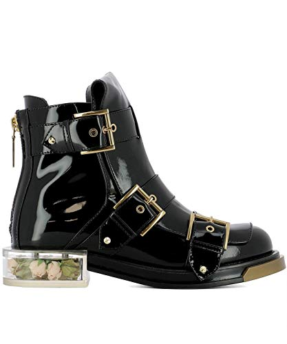 Alexander McQueen Women's 520721Whs701000 Black Leather Ankle Boots