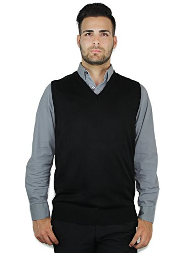Blue Ocean Solid Color Sweater Vest Black XXX-Large