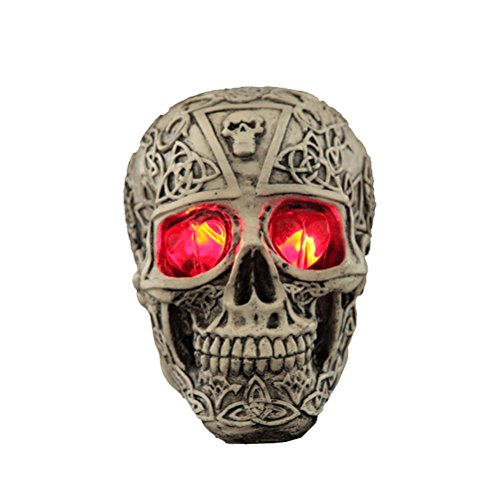 Halloween Gifts & Decor Skull Skeleton Statue Terror Tricky Prop Ghost Resin with Red Eye LED Light - Carving