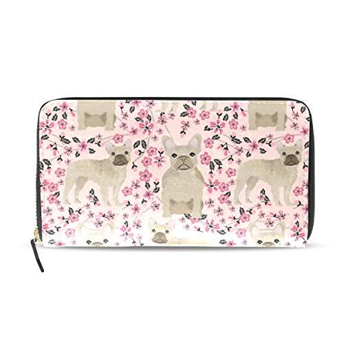 Wallet Clutch French Bulldog Cool Beige - Card Cases Money Organizers, CuiLL PU Leather Handbag for Men Women