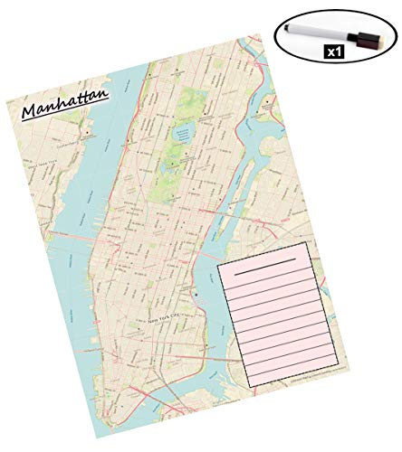 Laminated Map (Manhattan, New York City) - Dry Erase, Marker Included - Activities, Favorite Restaurants and Places, Tourist Map, Memory Map, Events, Adventure, Tourist - 12x16inch (Made in The USA)