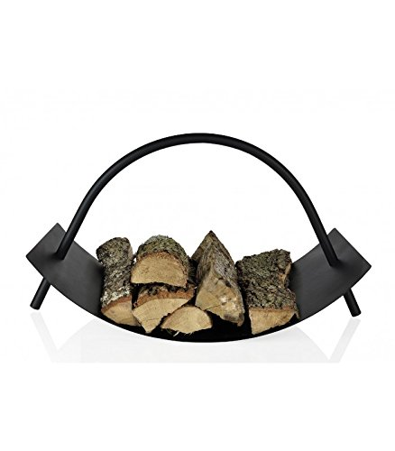 Porta legna in metallo nero design Wadiga