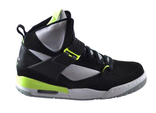 Jordan Flight 45 High Men's Basketball Shoes Black/White-Volt Ice-Wolf Grey 616816-040 (10 D(M) US)