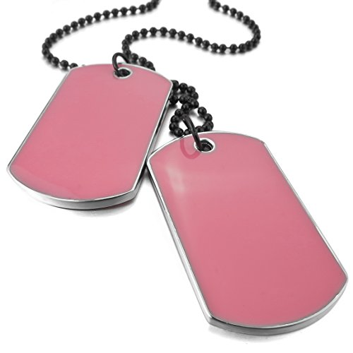 INBLUE Men's 2 PCS Alloy Enamel Pendant Necklace Pink Army Name Double Dog Tag 27 Inch Chain (Dog Tag Pink Necklace)