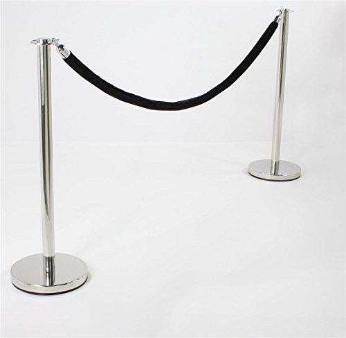 Flat-Top-Chrome-Stanchion-Posts-with-65-Black-Velvet-Rope-Set-of-2-Posts