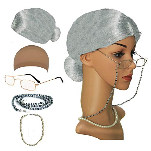 Old Lady Cosplay Set - Grandmother Wig, Wig Cap,Madea Granny Glasses, Eyeglass Chains Cords Strap, Pearl Beads (Style-7)