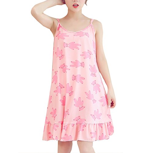 Big Girls Lovely Sleeveless Sleepwear Dress Pleated Nightgown Young(8y-16y)