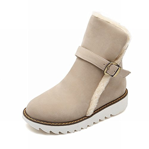 Carolbar Womens Buckle Faux Fur Christmas Gift Fashion Comfort Warm Snow Boots Beige P4nq99ThFc