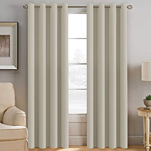 (H.VERSAILTEX Blackout Room Darkening Curtains Window Panel Drapes - (Cream Color) 2 Panels per Set, 52 inch Wide by 96 inch Long Each Panel, 8 Grommets/Rings per)