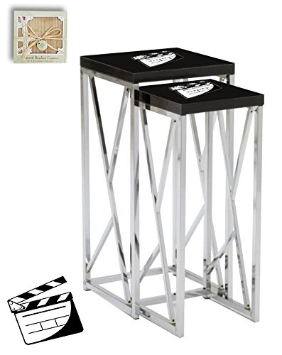 Black Laminate Formica and Chrome Finish Nesting Tables with Your Choice of a Novelty Themed Logo! (Movie Clapper)FREE set of coasters with each purchase!