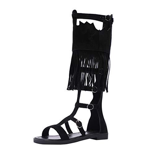 Summer Fashion high Back Zipper Roman Women's Sandals Flat Bottom high Sandals Straps Hollow Long Tassel Sandals (5, Black) ()