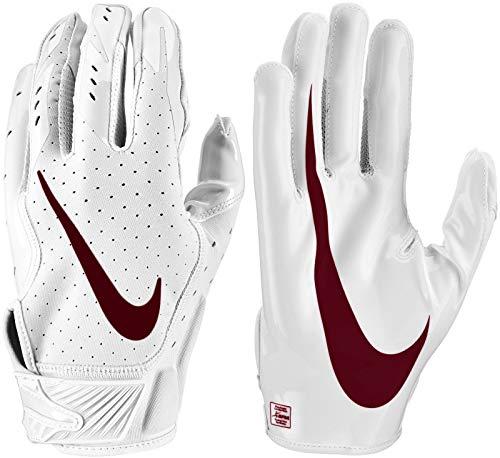 - Nike Men's Vapor Jet 5.0 Football Gloves - White Pack (Small, White/Deep Maroon)