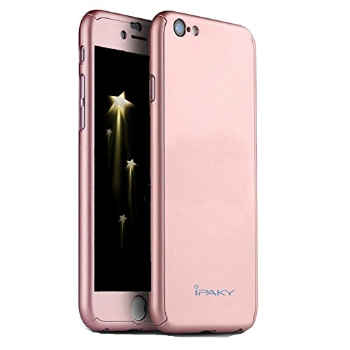 iPhone 6/6S Case, Ipaky [Thin Fit] Exact-Fit [Black] Premium Matte Finish Dual Layer Hard Case for iPhone 6 with Tempered Glass Screen Protector for iPhone 6/6S 4.7 (Rose Gold)