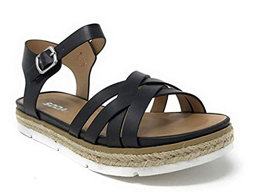 Womens Casual Espadrilles Trim Rubber Sole Flatform Studded Wedge Buckle Ankle Strap Open Toe Sandals (10 M US, Black Ro)