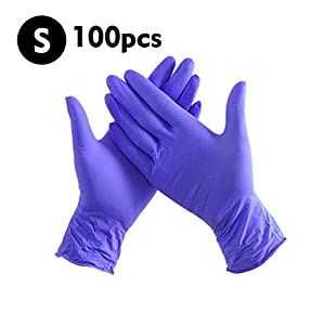 Decdeal Industrial Nitrile Gloves Rubber Latex Free Powder FreeTextured Disposable 100 PCS/Box
