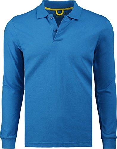 Marquis Men's Jersey Slim Fit Long Sleeve Golf Polo Knit, Medium, Caribbean Blue - Caribbean Long Sleeve Shirt