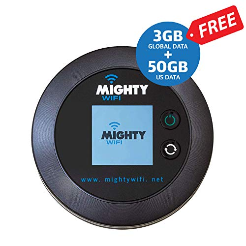 Promo 50GB US and 3GB Global data for 30 days fast 4G LTE added. MightyWifi high speed mobile hotspot, MIFI, pocket wifi, no SIM card or Roaming Charges, Travel, Home Router, Secure & Shareable