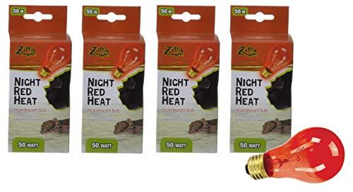 Zilla 4 Pack Incandescent Bulb, Night Red Heat, 50 Watt ()