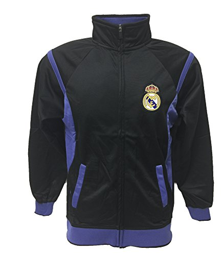 Boys Zip Front Track Jacket - Real Madrid Track Jacket Youth Boys Zip Front (YS, Black)