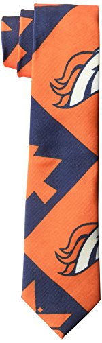 NFL Denver Broncos Men's Patches Ugly Printed Tie, One Size, Orange