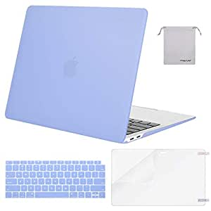 MOSISO MacBook Air 13 inch Case 2019 2018 Release A1932 with Retina Display, Plastic Hard Shell & Keyboard Cover & Screen Protector & Storage Bag Compatible Newly MacBook Air 13, Serenity Blue