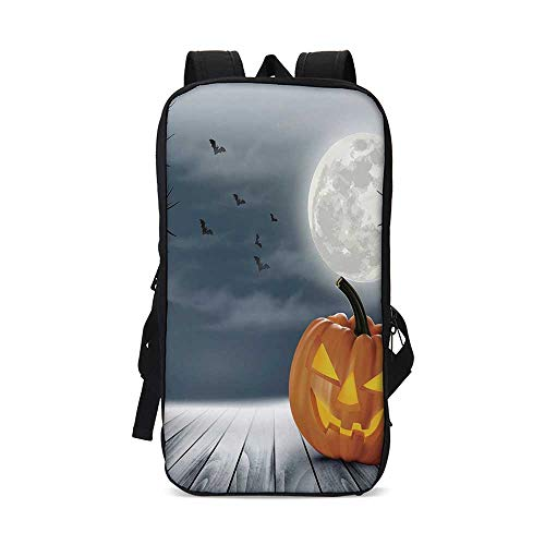 Halloween Stylish iPad Backpack,Cold Foggy Night Dramatic Full Moon Pumpkins on Wood Board Trees Print for School Office,9.8
