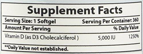 Best Naturals Vitamin D3 5000 IU 350 Softgels