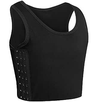 "XUJI Women Tomboy Trans Elastic Chest Binder Breathable Cotton Slim Fit Tank Top - Black - 2XL(40""-42"")"
