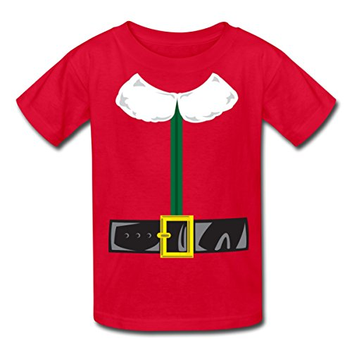 Spreadshirt Christmas Elf Costume Kids' T-Shirt, Youth XL, red