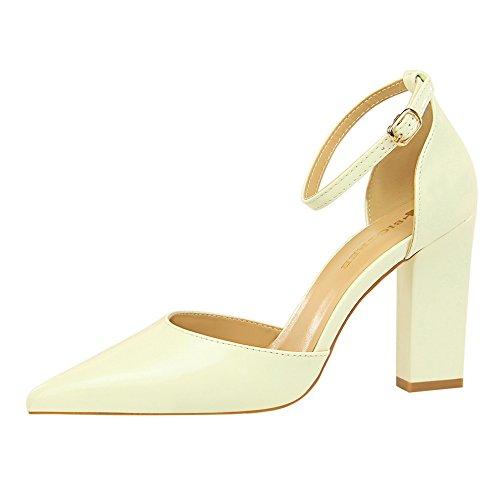 Xue Qiqi Gruesas con los zapatos de tacón alto de cuero pintado chica solo zapatos de punta hueca fresca pequeña correa ranurada sandalias Blanco