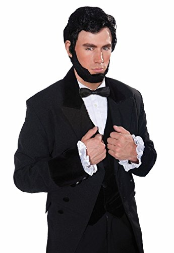 [Black Abe Abraham Lincoln Black Wig Beard Hair Set Adult Mens Costume Accessory] (Glitter Beard Costume)