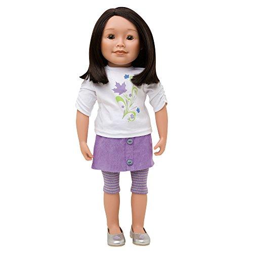 (Maplelea Friend 18 Inch Doll with shoulder length dark brown hair, medium-light skin, brown almond-shaped eyes)