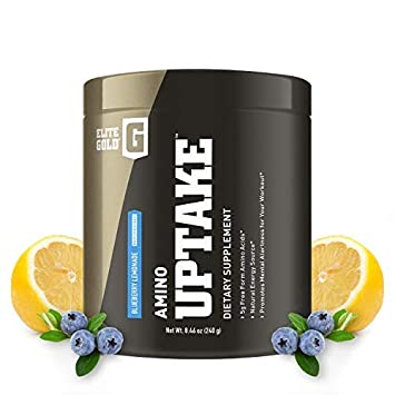 Complete Nutrition Elite Gold Amino Uptake, Blueberry Lemonade, Amino Acid Supplement, Increase Energy, Support Muscle Recovery, Beta Alanine, L Citrulline, 8.46 oz Tub 30 Servings