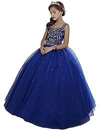 HSDJ Girls Dance Party Ball Gowns Long Beaded Kids Pageant Dresses