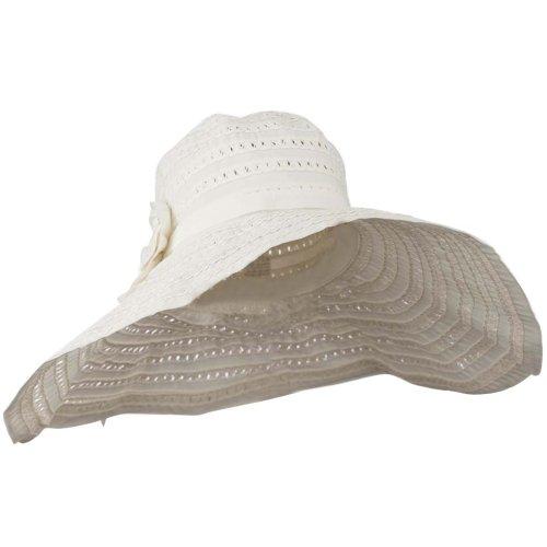 Toyo Braid Hat with Flower Accent - White - Toyo Wide Hat Braid