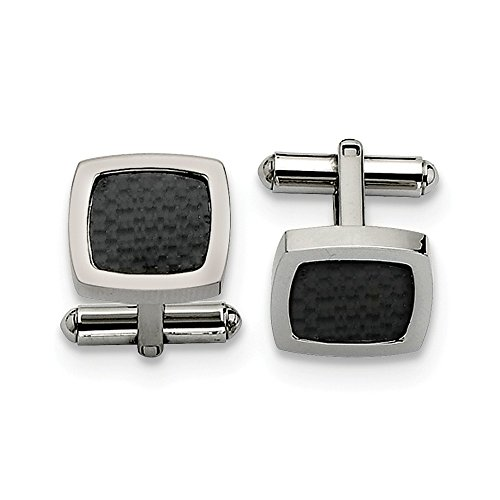 ICE CARATS Stainless Steel Black Carbon Fiber Inlay Cufflinks Man Cuff Link Fashion Jewelry Gift for Dad Mens for Him