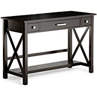 Simpli Home Kitchener Solid Wood Desk, Dark Walnut Brown