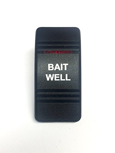 - Euro Rocker Switch Cover with Text, Black with Red Lens. Contura III, Fits Carling, Cole Hersee, Blue seas (BAIT WELL)