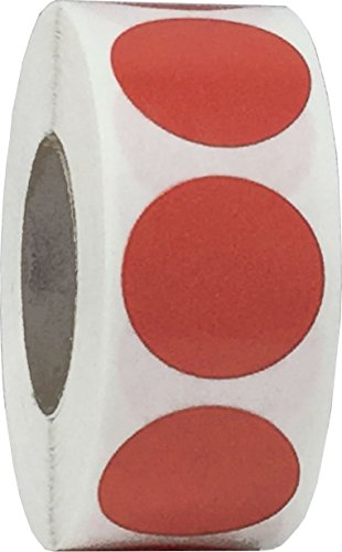 Red Color Coding Labels for Organizing Inventory 0.75 Inch Round Circle Dots 500 Total Adhesive Stickers On A Roll
