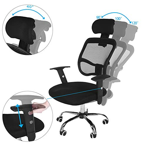 Executive Computer Office Home Task Adjustable Swivel Chair Stool with Arms,Breathable Mesh,Ergonomic Headrest and Lumbar Support(Ship from US!) by Toxz office products (Image #8)
