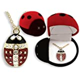 Ladybug Pendant Necklace In Figural Gift Box