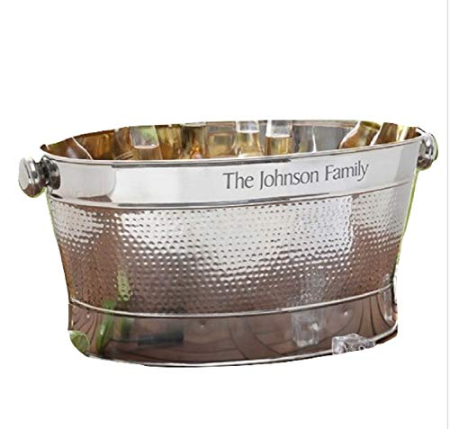 - Ice Bucket Stainless Steel Party Tub | Personalized Beverage Beer Wine Cooler with Handles | Backyard BBQ Poolside Party Planter Firewood