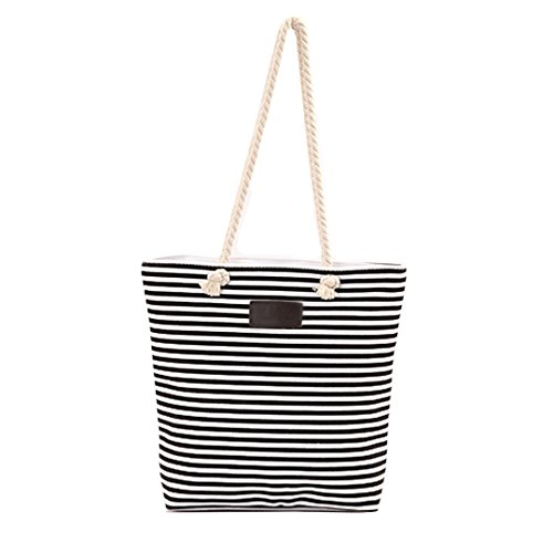 Canvas Beach Shopping Bag Handle MEGA Zipped Bag Black Bag Striped Tote Oversized Top Women Shoulder 5zz7Yw