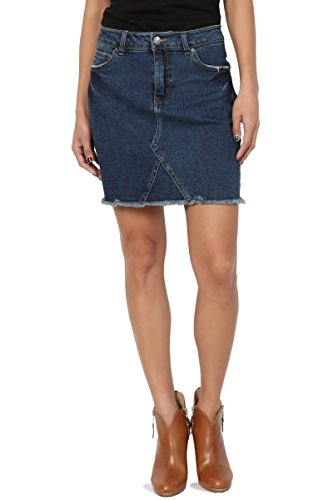 - TheMogan Junior's Frayed Hem Slim Straight Short Mini Washed Denim Skirt Dark S