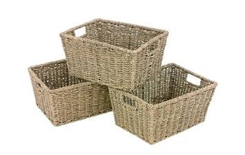 Set Of 3 Seagrass Rectangular Storage Baskets With Insert Handles:  Amazon.co.uk: Kitchen U0026 Home