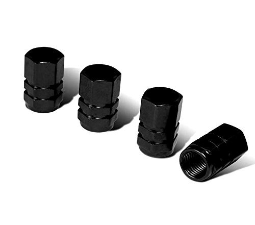 iJDMTOY (4 Tuner Racing Style Black Aluminum Tire Valve Caps (Hexagon Shape)