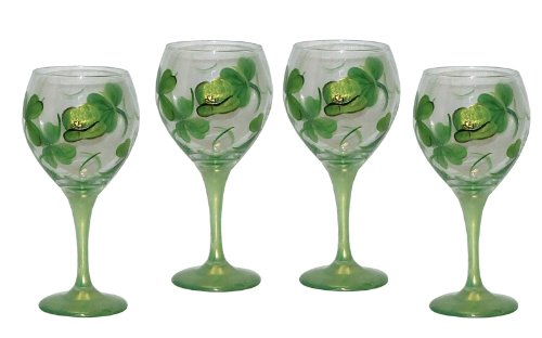 ArtisanStreet Set of Four Hand Painted Shamrock Balloon Wine Glasses