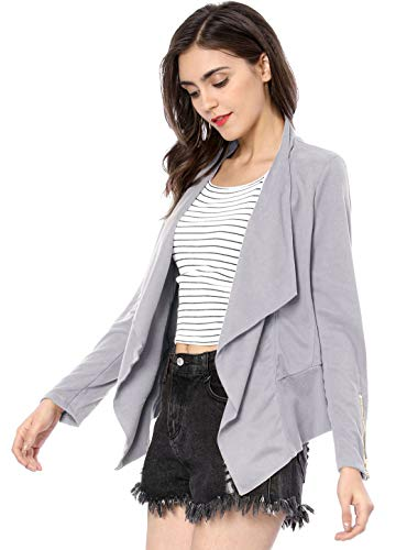 Allegra K Women's Zip up Cuffs Draped Open Front Faux Suede Jacket Purple Grey XS (US ()